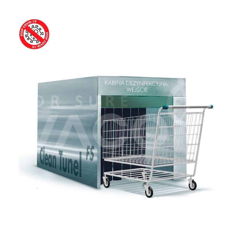 Automatic disinfection tunnel Clean Gate UV-C lamps for shopping carts and baskets
